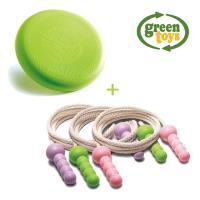 美國Green Toys-戶外運動組合(綠飛碟飛盤1入,皮皮喘跳跳繩1入顏色隨機)