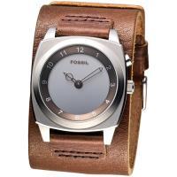 FOSSIL 大數字跳秒寬版皮帶手錶-咖啡色(BG1013)
