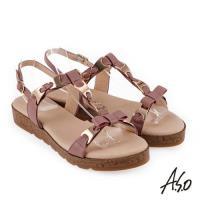 A.S.O 希臘渡假 蝴蝶結鍊飾全真皮羅馬休閒涼鞋- 粉紅