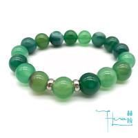 【Hera 赫拉】鼓舞人心天然綠條紋玉髓手鍊(10mm)