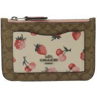 COACH 59172 可愛草莓滿版C LOGO 印花多夾零錢包.駝/粉
