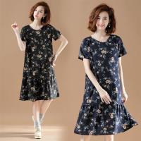 【KVOLL】韓版寬鬆碎花印花雪紡洋裝XL-5XL