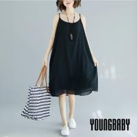 【YOUNGBABY中大碼】純色可調肩帶雪紡吊帶洋裝.共2色
