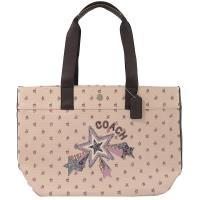 COACH 55598 小碎花系列皮飾邊托特購物包.粉 大