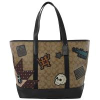 COACH 67373 Keith Haring 聯名限量托特包.駝/黑邊 大