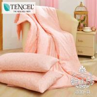 AGAPE亞加•貝 台灣製造-花朵精靈 吸濕排汗法式天絲涼被三件組 (150x195cm) 買涼被就送同款枕套2入