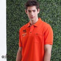 oillio歐洲貴族 吸濕排汗網眼透氣POLO衫 短袖休閒刺繡 橘色
