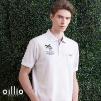 oillio歐洲貴族 吸濕排汗網眼透氣POLO衫 短袖休閒刺繡 白色