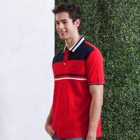 oillio歐洲貴族 舒適透氣棉料POLO衫 拼接設計 電腦刺繡 紅色