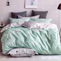 BEDDING-專櫃純棉6x7尺特大雙人薄式床包涼被四件組-心跳-藍