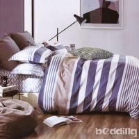 BEDDING-專櫃純棉6x7尺特大雙人薄式床包涼被四件組-繽紛摩卡-藍