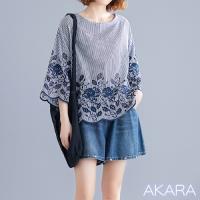 AKARA 工藝繡花蕾絲條紋寬袖上衣