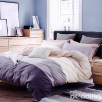 BEDDING-專櫃純棉6x7尺特大雙人薄式床包涼被四件組-條紋世界-咖
