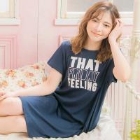 lingling日系 英字燙銀棉質短袖連身裙睡衣(全尺碼)