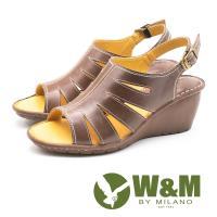 W&M(女) 羅馬風情 真皮鏤空楔型涼鞋-棕(另有紅)