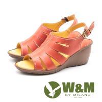 W&M(女) 羅馬風情 真皮鏤空楔型涼鞋-紅(另有棕)