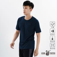【遊遍天下】 MIT台灣製中性款透氣吸排圓領機能衫(丈青L)