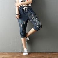 【Keer】鬆緊腰繫帶破洞手工繡花牛仔褲L-XL