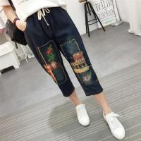 【Keer】復古民族風燙布刺繡七分牛仔褲L-XL