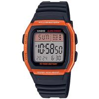 【CASIO】 樂活休閒運動數位錶-橘框X黑 (W-96H-4A2)
