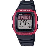 【CASIO】 樂活休閒運動數位錶-玫瑰紅框X黑 (W-96H-4A)