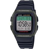 【CASIO】 樂活休閒運動數位錶-軍綠框X黑 (W-96H-3A)