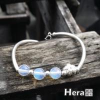 Hera 赫拉 925純銀手作蛋白石圓珠梅花手環手鍊