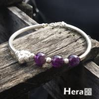 Hera 赫拉 925純銀手作天然紫水晶圓珠梅花手環手鍊