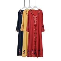 【維拉森林】波希米亞風復古民族刺繡洋裝S-XL(共三色)