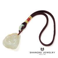 【尚虎珠寶】彌勒佛-限量和田白玉大特價每款僅一件(大師款-100%手工研磨雕刻製作)-帶天然皮色