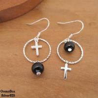 【海洋盒子】質感不對稱黑色圓珠鋯石十字架垂墜925純銀耳環