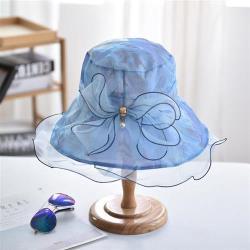 【米蘭精品】遮陽帽漁夫帽-歐根紗印花可摺疊輕巧女帽子7色73vf43