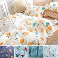 eyah宜雅 台灣製200織紗天然純棉新式雙人兩用被加大床包五件組-多色可選