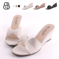 【88%】跟鞋-MIT台灣製 皮質鞋面蝴蝶結造型 跟高7.5cm楔型鞋 一字高跟鞋