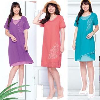 蘭陵層次仿絲棉涼爽刺繡短袖洋裝