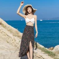 【維拉森林】復古印花高腰海邊度假沙灘裙-F(共三色)