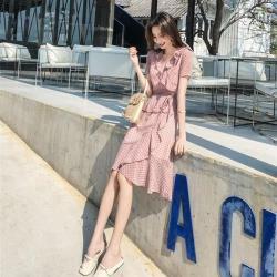 【Dorri】水玉點點柔美波浪束腰修身藕色洋裝S-XL