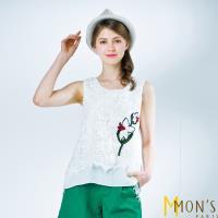 MONS法式精品蕾絲刺繡假二件造型背心