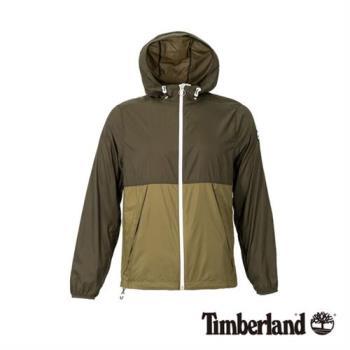 Timberland男款軍綠色輕薄款防風連帽外套(A1OLGS71)