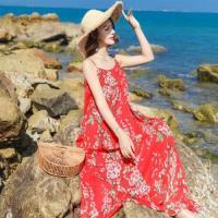 【維拉森林】性感雪紡吊帶碎花沙灘裙S-XL(共兩色)