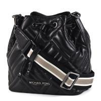 MICHAEL KORS 黑字衍縫格紋小羊皮寬背帶水桶包-黑色/小