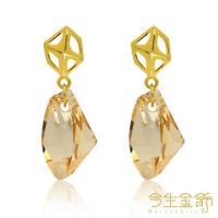 【今生金飾】幾何耳環(時尚黃金耳環)