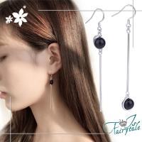 【伊飾童話】瑪瑙圓珠*不對稱垂墜銅電鍍耳環/黑