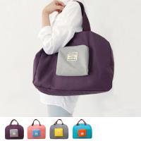 JIDA 撞色款摺疊單肩收納袋/購物袋(隨機出貨)
