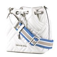 MICHAEL KORS 銀字衍縫格紋小羊皮寬背帶水桶包-白色/小