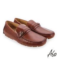 A.S.O 超能耐二代 低調簡約飾釦樂福鞋-咖啡
