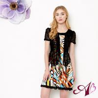 【A3】(任選)夏日繽紛-假兩件式修身洋裝