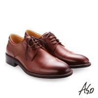 A.S.O職人通勤 綁帶蠟感小牛皮紳士鞋-茶