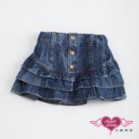 天使霓裳-童裝 俏麗甜心 兒童牛仔蛋糕層次短裙(深藍) J1101392