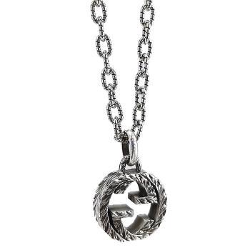 GUCCI 復古925純銀雕花 Interlocking G 925純銀雙G墜飾項鍊(男款)